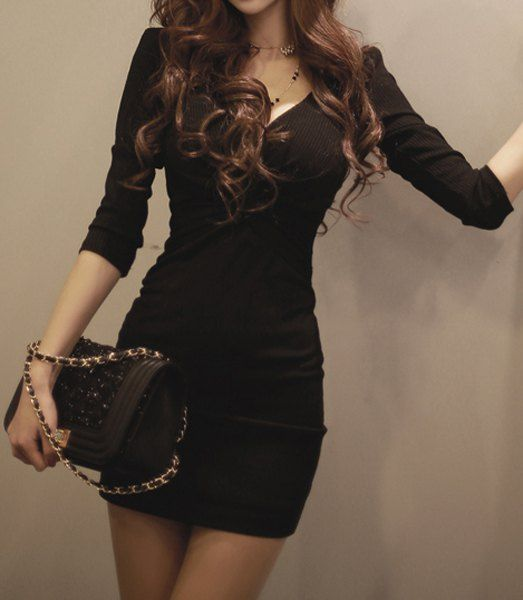 Trendy Style Plunging Neck Solid Color Bodycon Long Sleeve Dress For Women Bodycon Dresses   RoseGal.com