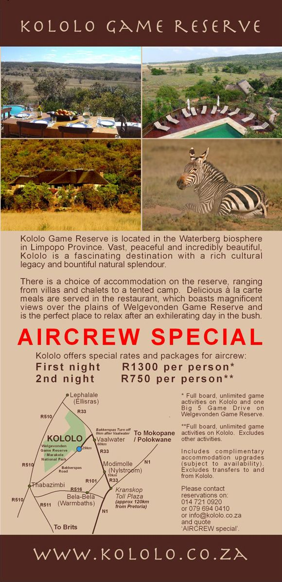 Kololo Game Reserve airline rates