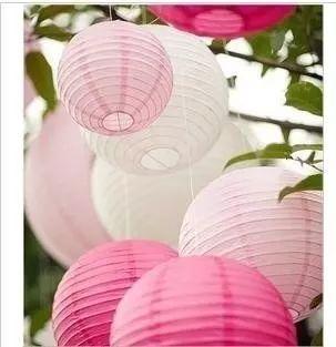 pantalla globo farol lampara papel china blancas  de 30 cm