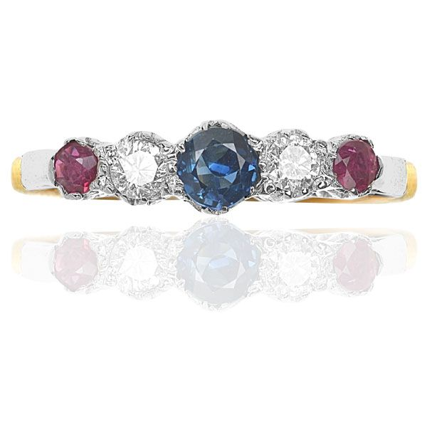 Sapphire, Ruby & Diamond Ring Set in Platinum & 18 Carat Gold