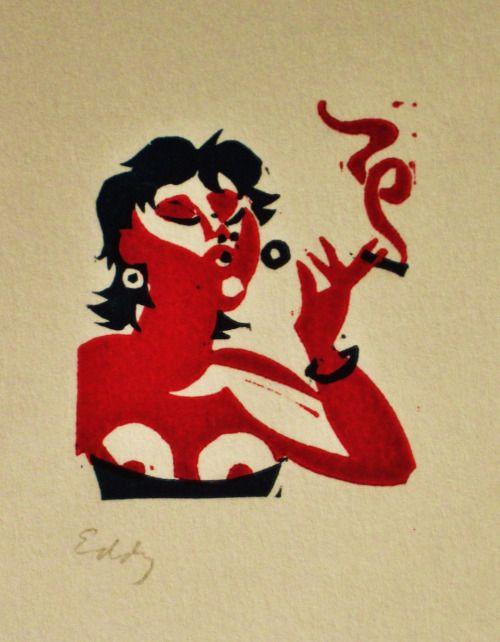 Smoking lady - Linocut postcard Eddy Varekamp