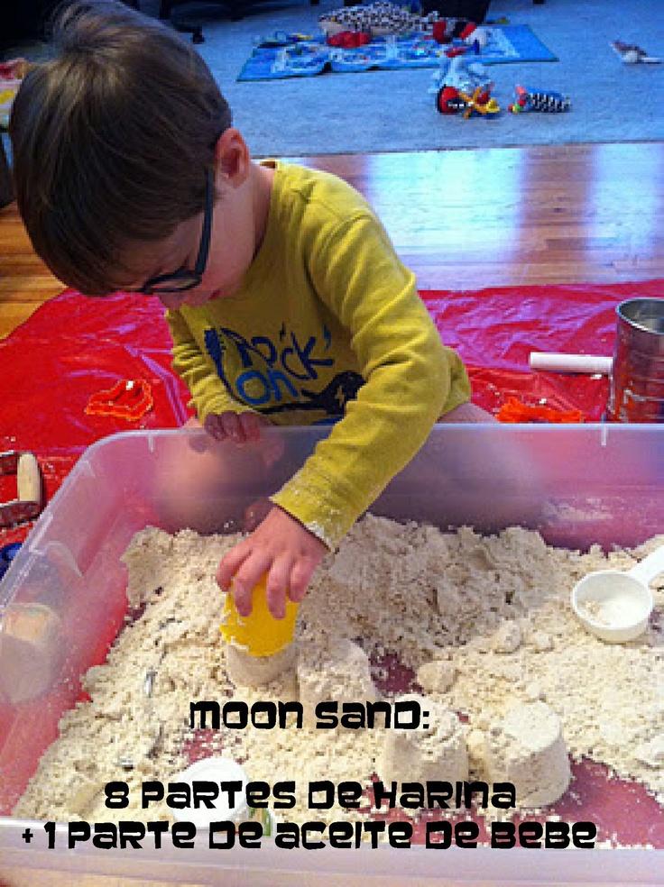moon sand  harina + aceite de bebe