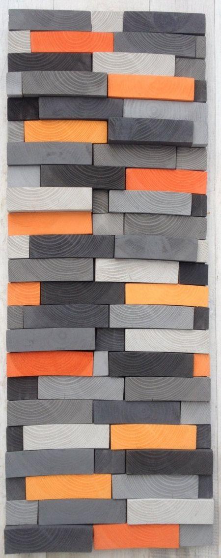 Abstract kunst aan de muur teruggewonnen hout Wall door WallWooden