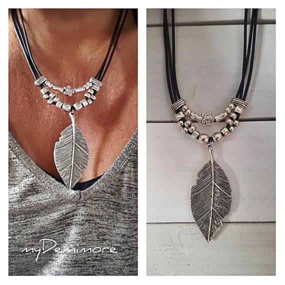 big feather Pendant leather necklace feather pendant Boho