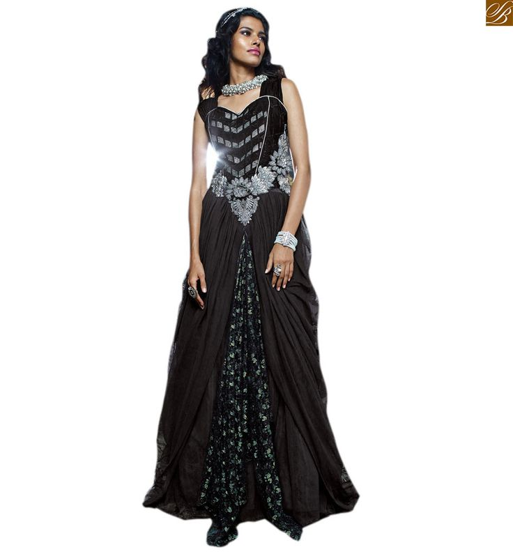 EVERSTYLISH EVENING GOWN DRESS ONLINE INDIA AT REASONABLE PRICE BLACK VELVET, NET AND BRASSO EVERYSTYLISH EVENING GOWN STYLE DRESS WITH BELT STYLE AT CENTRE AND DESIGNER BACK