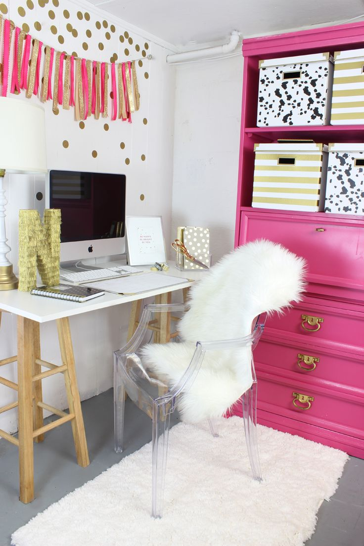 home office decorating ideas nyc. pink and gold gorgeous office nook home decorating ideas nyc