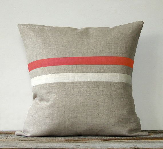 Coral And Cream Striped Pillow 16x16 By Jillianrenedecor