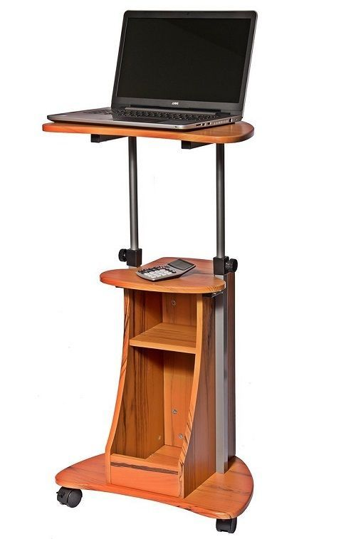Mobile Computer Stand Portable Laptop Cart Podium Desk Office Church School Home #MobileComputerStand
