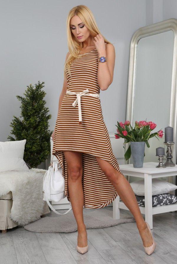 Sukienka Karmelowo-Biała BB5038