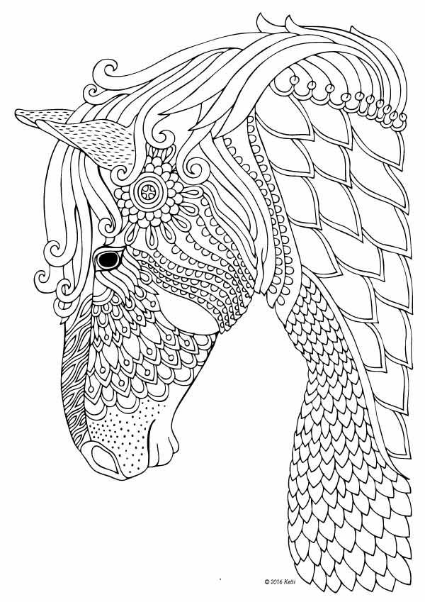 horse coloring page for adults illustration by keiti davlin publishing - Horses Coloring Pages