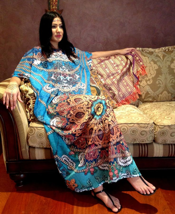 SALE Silk Crepe Maxi Dress kaftan Beach Blue Print Crystals free size