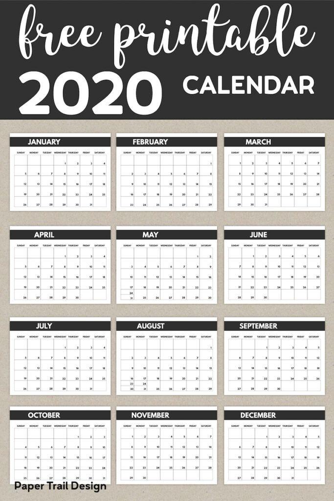 2020 Free Monthly Calendar Template Calendar Template Free