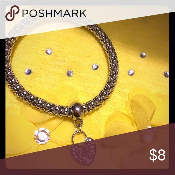 Silver Statement bracelet Popcorn bracelet with heart charm Accessories