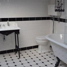White Bathroom Border Tiles 22 best monochrome bathrooms images on pinterest | bathroom tiling
