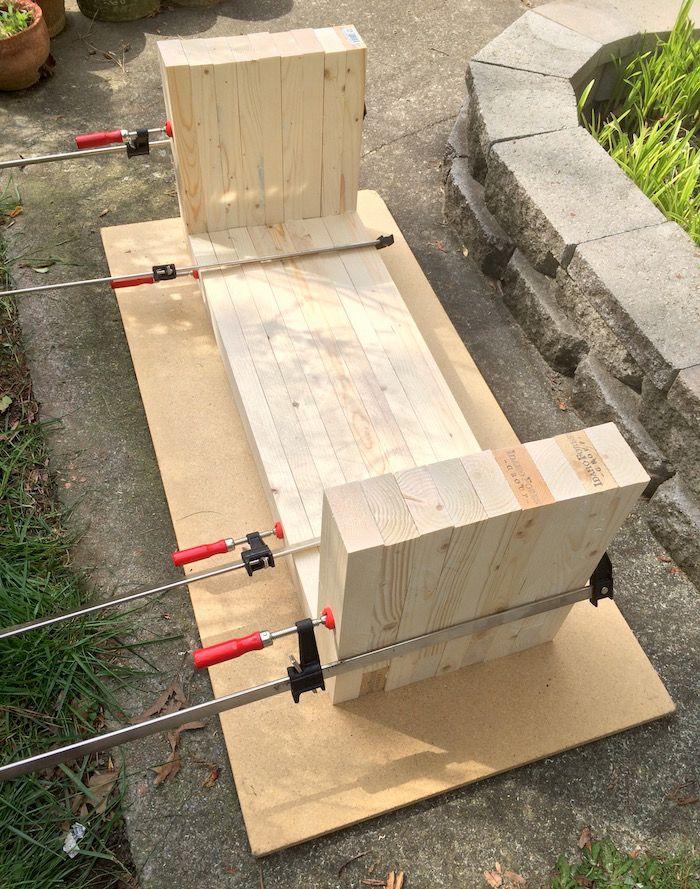 Williams Sonoma inspired DIY outdoor bench - diycandy.com