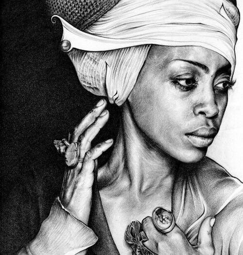 T.S. AbeAfrican American, Abed, Amazing Pencil Drawing, Sketches Art, Colors Pencil, Erykah Badu, Mindfulness Blowing, Pencil Art, Erykahbadu