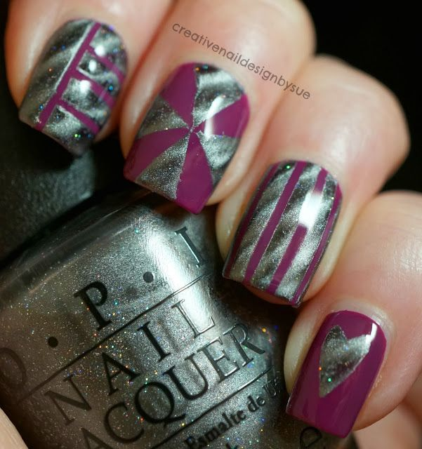 Creative Nail Design by Sue: OPI Pamplona Purple & Is That Silva (magnetic)
