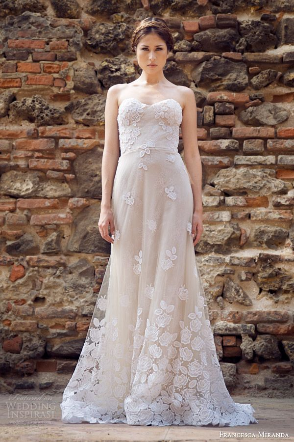 francesca miranda bridal fall 2014 strapless wedding dress allure front  #wedding #dress #bride