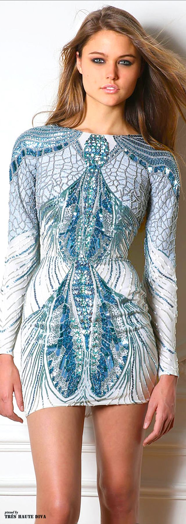 Zuhair Murad Fall 2014. This fun, sultry little number reminds me of both a fly, and peacocks all in one. The intricate detailing and jeweling is phenomenal.