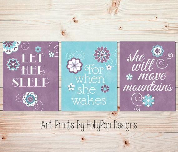 Girl Nursery Décor, Purple Teal Nursery, Let Her Sleep, Girls Room Art Prints, Home Décor, Baby Girl Nursery