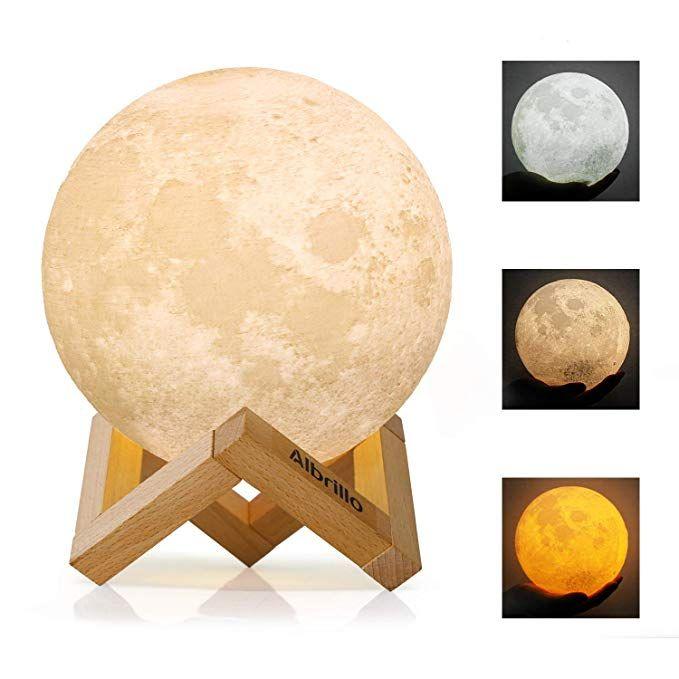 Albrillo Led Mond Lampe 15cm 3d Mondlicht Mit Touch Sensor 3 Farbe Auswahlbar Und Dimmbar Nachtlicht Usb Wiederaufladbar Als De In 2020 Nachtlicht Mond Lampe Lampe