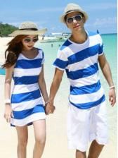 New style fashion Blue and white stripe couples T-shirt $ 8.26