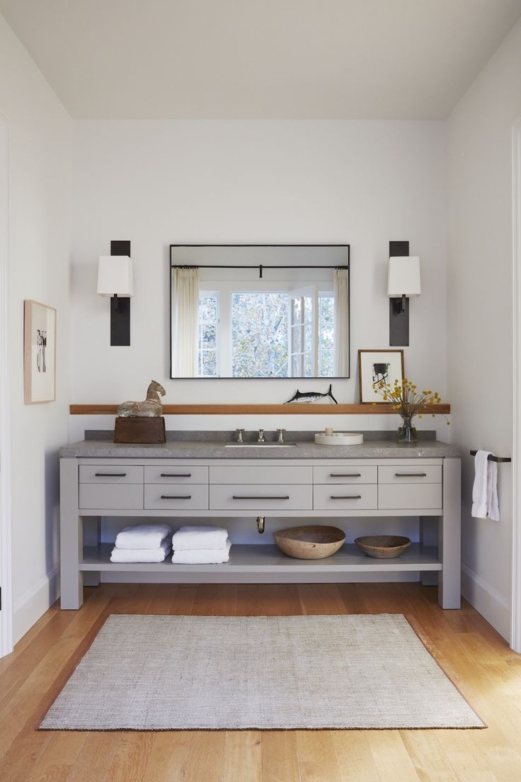 Bathroom Design With Large Vanity With Open Bottom Shelf Light Wood Floors And Grey Paint On The Vanity Wit Interior Design Modern Interior Design Home Decor
