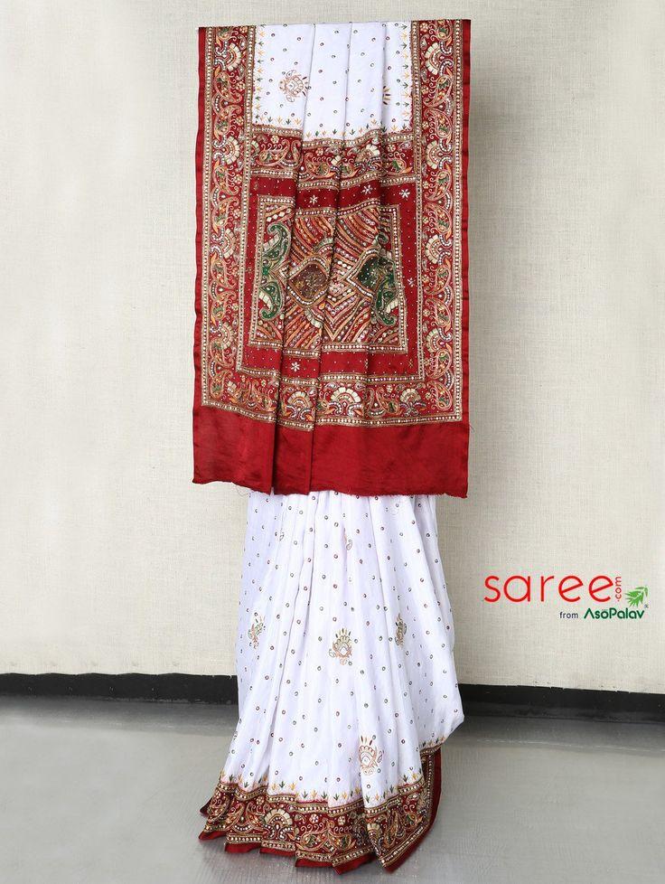 Maroon and White Panetar Saree