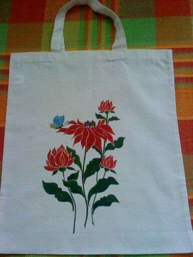 Kézzel festett vászon táska 38x42 cm