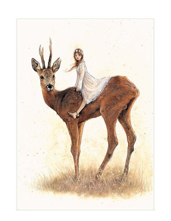 SIGNED Fine Art Print - DEER - small  Jean Baptiste- Monge