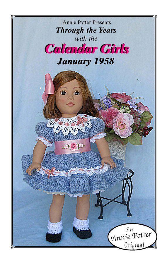 "Crochet doll dress pattern /""Calendar Girls January 1958/"" 18 inch"
