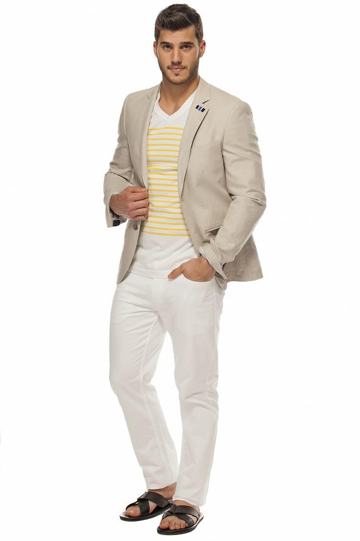 Le veston de lin et le chandail imprimé! Linen Jacket and Printed T-shirt! TRISTAN / tristanstyle.com