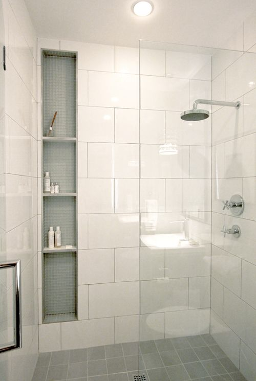 Best Photo Gallery For Website For the boy us bathroomLove the frameless glass shower door Also really liking the large format white tile and tall long niche with sea colored accent glass