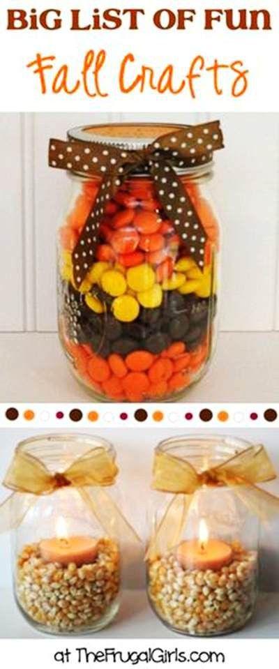Fun Autumn M&Ms Mason Jar Candle Holder Crafts - 2014 Thanksgiving for Kids  #2014 #Thanksgiving