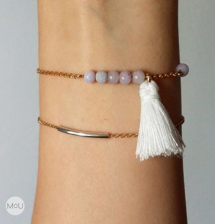 Minimal gold plated bracelets with silver twiggy and amethiste jade with white fringe by MOU