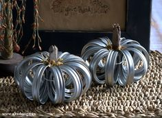 Canning jar ring pumpkins. Now that I'm using plastic lids for my non-canned mason jar storage, I definitely have some extra lids and rings. This is cute!