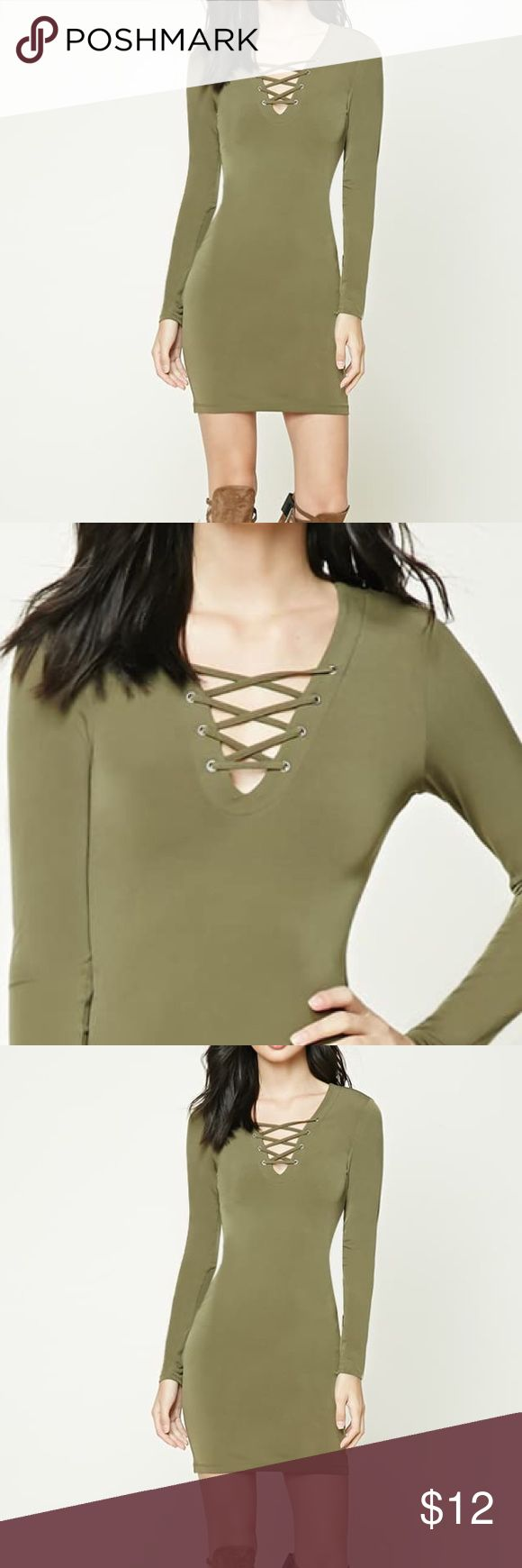 Green bodycon dress Olive green bodycon dress super cute. Fits well, good for a casual look. Long sleeve. No flaws. Buy now! Size medium Forever 21 Dresses Mini