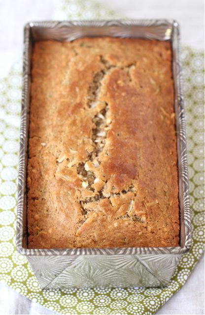Zucchini Coconut Bread made with coconut oil and Greek yogurt from Two Peas and Their Pod