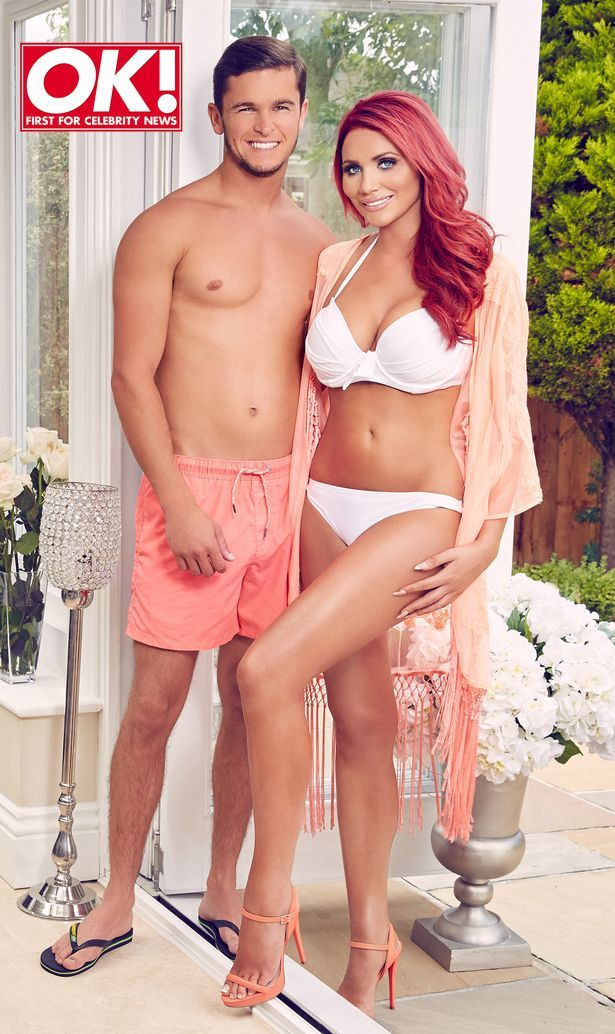 "The Only Way Is Essex's Amy Childs and her boyfriend Bradley Wright reveal they're a planning ""big castle wedding"" as they pose on the cover of OK magazine. Amy wears a white bikini, fringed peach kimono, matching peach strappy heels, and her bright red hair falls over her shoulders."