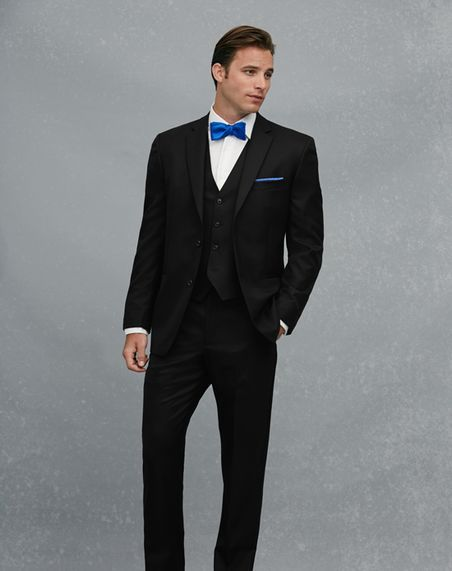 Jos. A. Bank 2-Button Notch Lapel černý oblek černý Tuxedo  52cafa1f0d