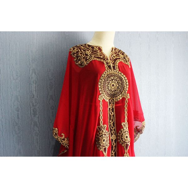 Stunning Red Moroccan Kaftan Dress, Plus Size Maxi Caftan Dress... ($39) ❤ liked…