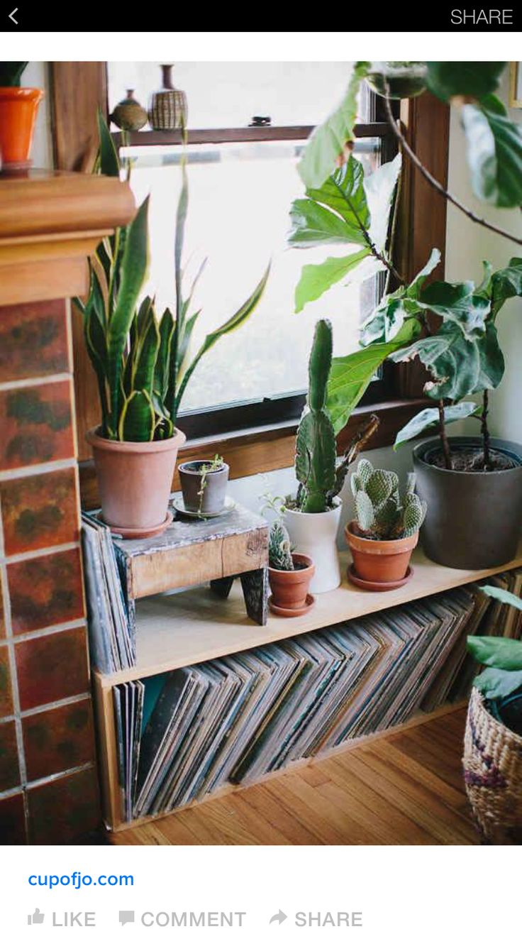 Cute little DIY record storage next to the fireplace