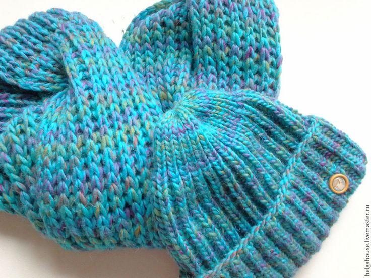 Купить Снуд и шапка вязаные женские (мультиколор бирюза) - однотонный, темно-бирюзовый, комплект вязаный