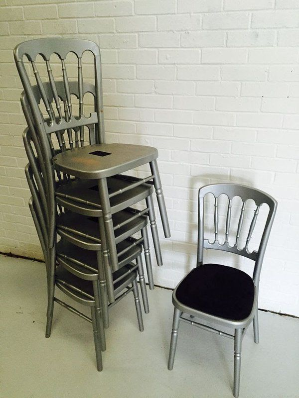 Silver Cheltenham style chairs complete with black seat pads £15.50 each