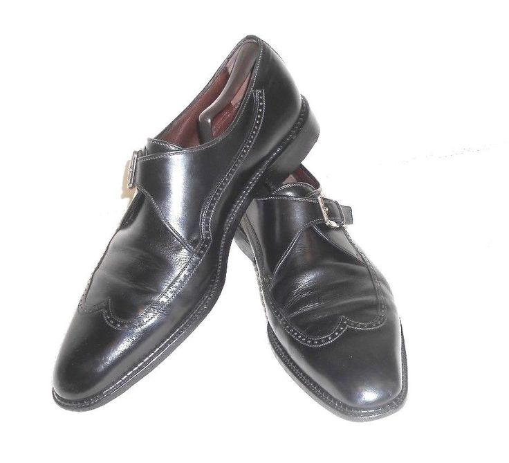 A Testoni Black Label Vtg Black Leather Monk Strap Wing Tip Made in Italy  11 B