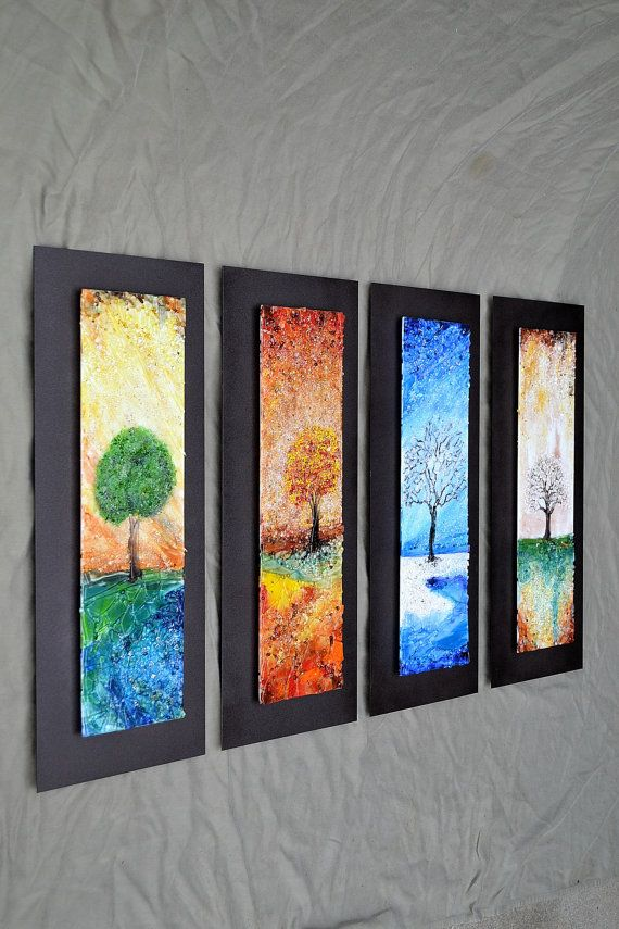 The four seasons fused glass wall art with textured for Glass wall art