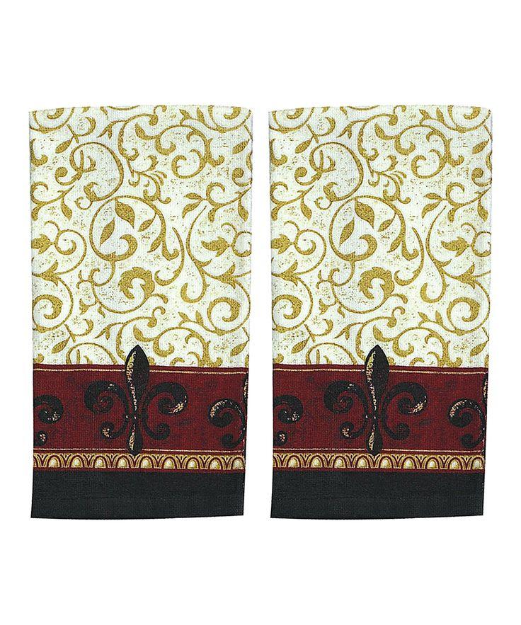 Scroll Fleur-de-Lis Terry Towel - Set of Two