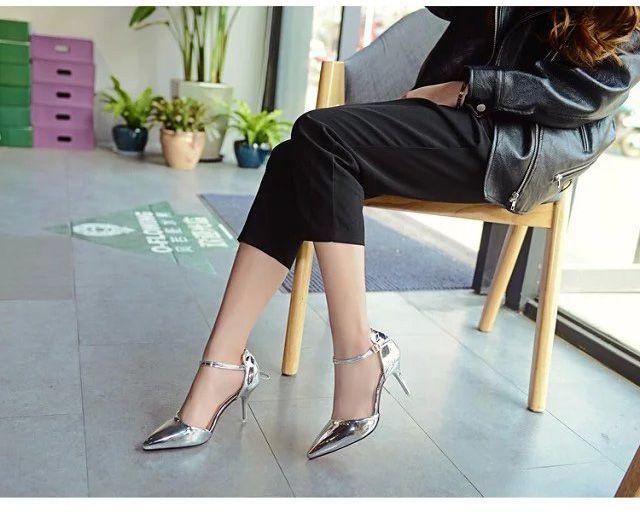 ПР Дамы Офис Обувь Женская Высокие каблуки Одевать Обувь Серебро Женщина свадебная Обувь Острым Носом Лодыжки Пряжки Сексуальные Насосы Золотые Туфли 2963 купить на AliExpress