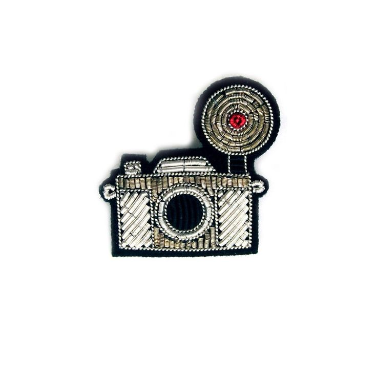 "SMALL HAND-EMBROIDERED ""CAMERA"" PIN"