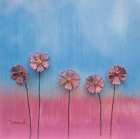 Wire Art on canvas from ButterflyOnBlue: Wire cosmos flowers against a painted sky by Sarah Jansma